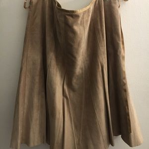 Tan Suede & Leather Pleated Skirt